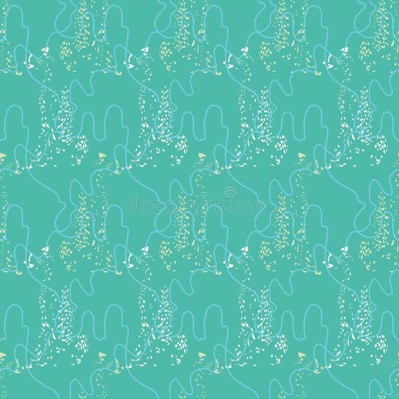 Sömlös modell med fortlöpande band, kablar och leopardkonturer Komplext vektortryck i aqua som är blå som är vit och som är blek  royaltyfri illustrationer