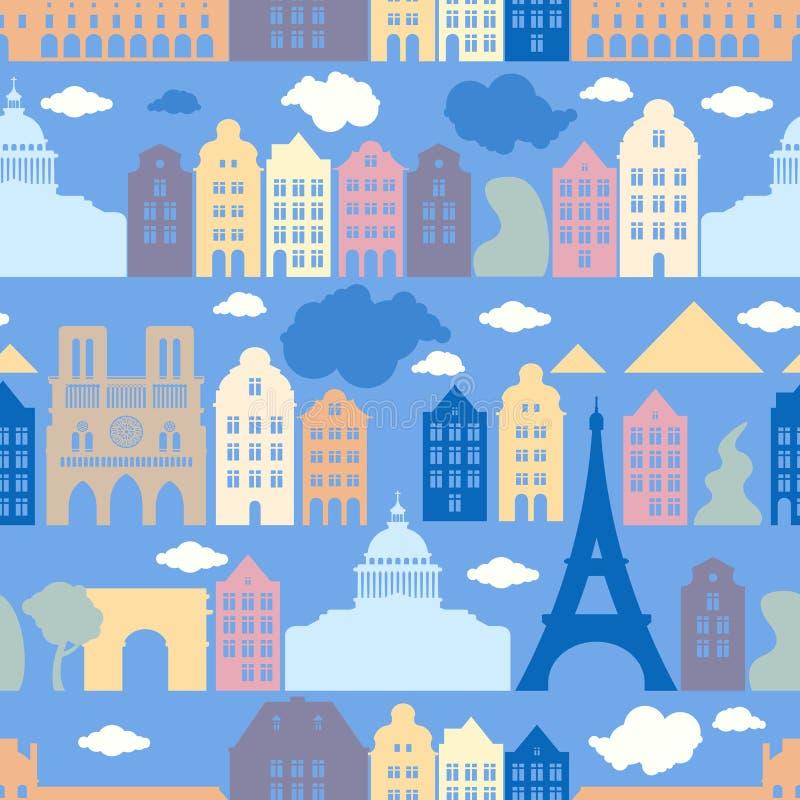 Sömlös modell med Frankrike, staden av Paris Arkitekturen av staden vektor illustrationer
