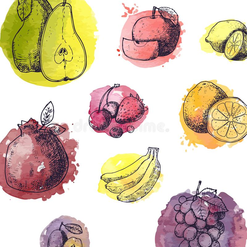 Sömlös modell med frukter i utdragen stil för hand - vektorillustrationen med vattenfärgen stiliserade färgstänk Sommar stock illustrationer