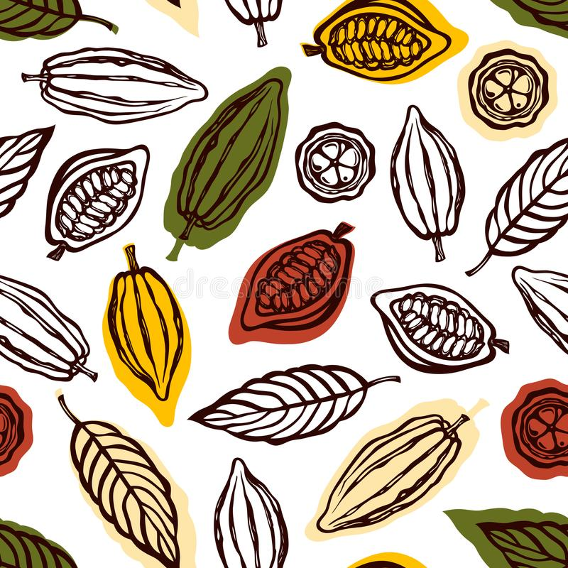 Sömlös modell med frukter och kakaosidor Bakgrund för förpackande chokladdrink och choklad tecknad hand royaltyfri illustrationer