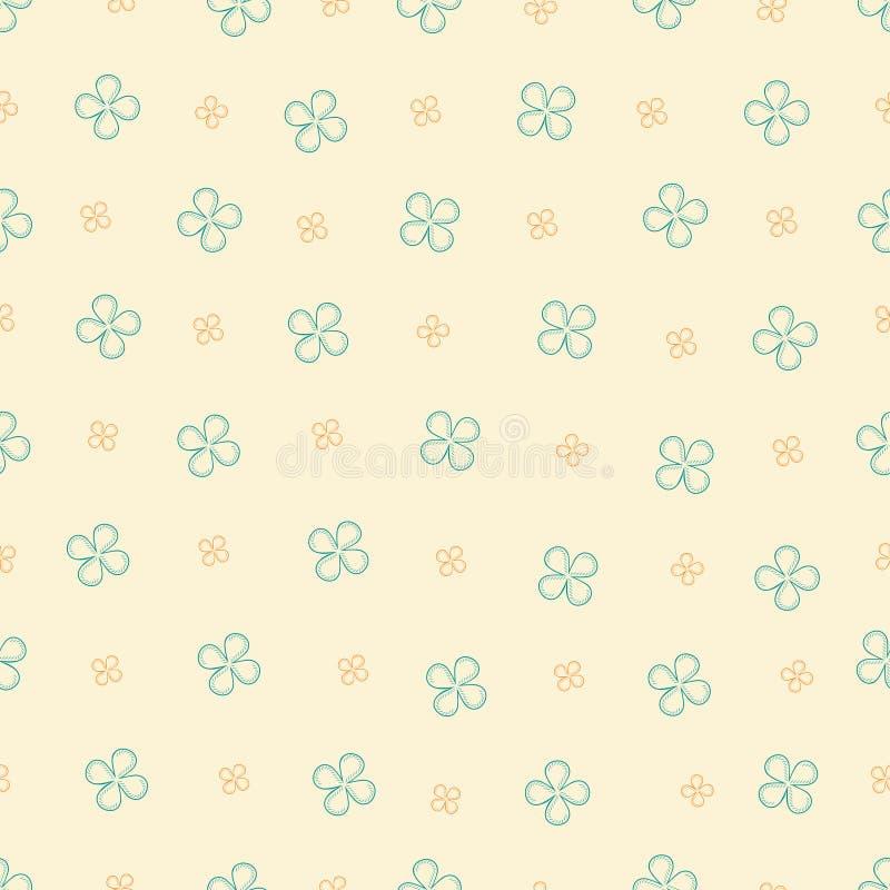 Sömlös modell med fyra kronblad på en beige bakgrund stock illustrationer