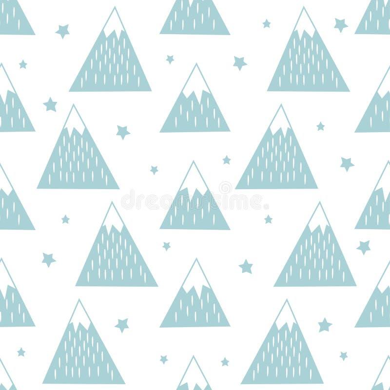 Sömlös modell med geometriska snöig berg och stjärnor stock illustrationer