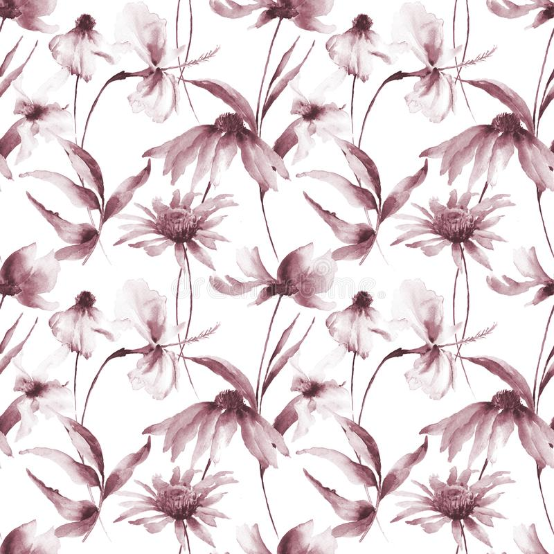 Sömlös modell med Gerber och Cosmea blommor stock illustrationer