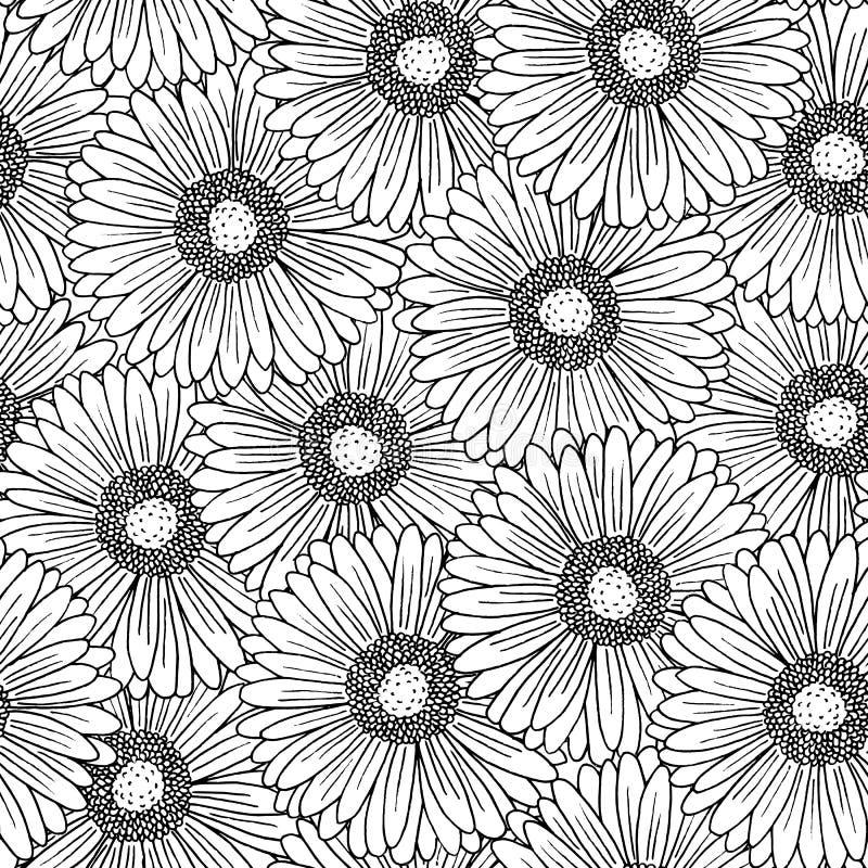 Sömlös modell med gerberablommor vektor illustrationer