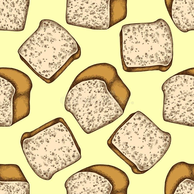 Sömlös modell med giffel och bröd för hand utdragna kulöra vektor illustrationer