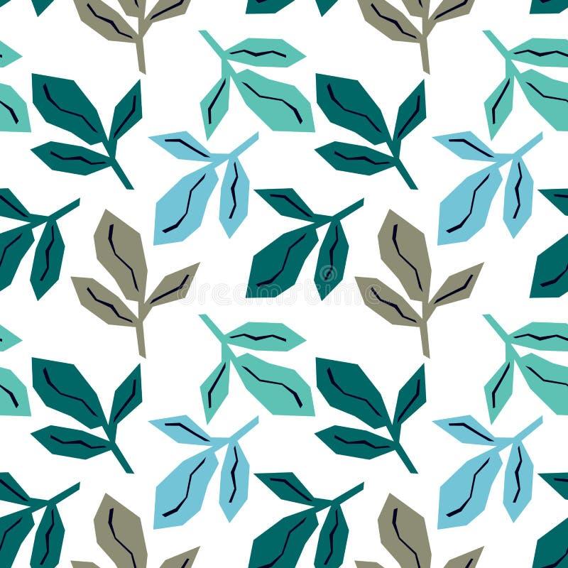 Sömlös modell med grå färger, turkos och blåa sidor Ljus tropisk bakgrund vektor illustrationer