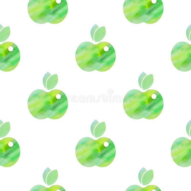 Sömlös modell med gröna äpplen vektor illustrationer