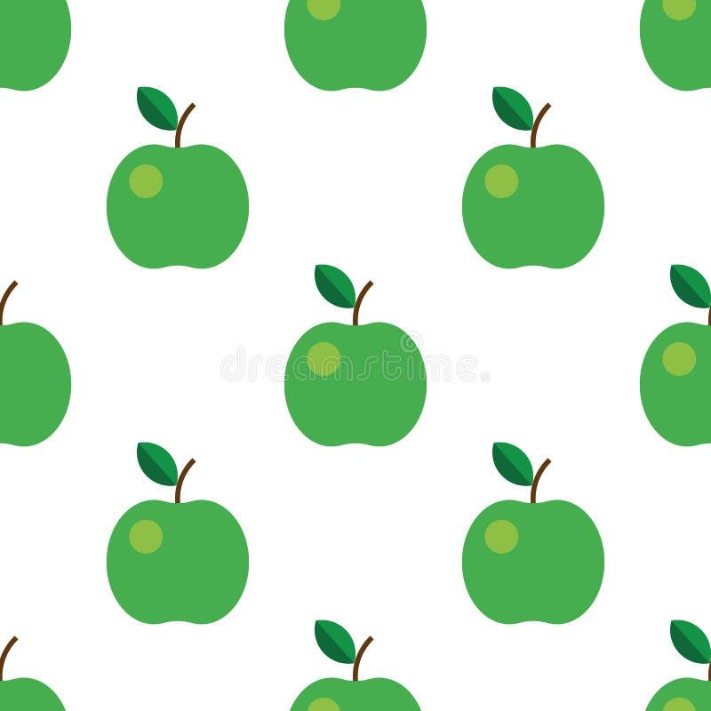 Sömlös modell med gröna äpplen också vektor för coreldrawillustration Frukt blad, på vit bakgrund För kökdesign royaltyfri illustrationer