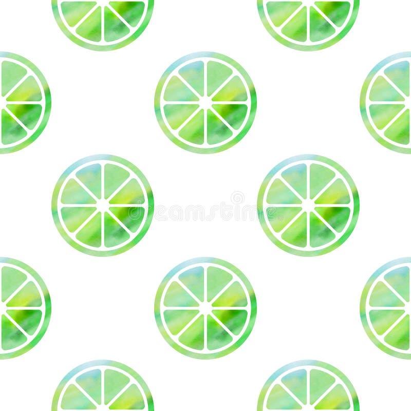 Sömlös modell med gröna limefrukter stock illustrationer