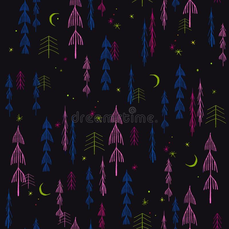 Sömlös modell med granar, träd, vinter, nytt år, Christma royaltyfri foto