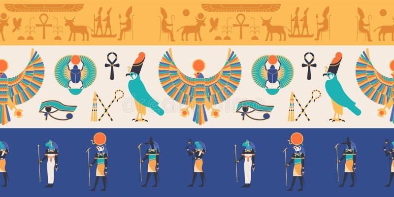 Sömlös modell med gudar, gudar och varelser från forntida egyptisk mytologi och religionen, hieroglyf, klosterbroder vektor illustrationer