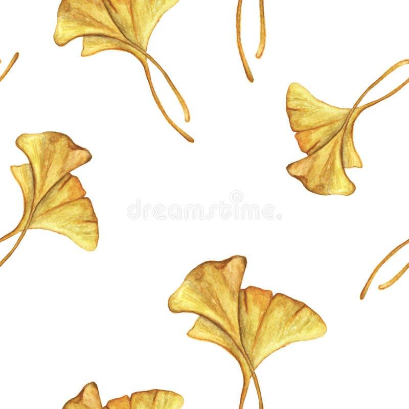 Sömlös modell med gula ginkgosidor på vit bakgrund, vattenfärgbakgrundsmodell vektor illustrationer