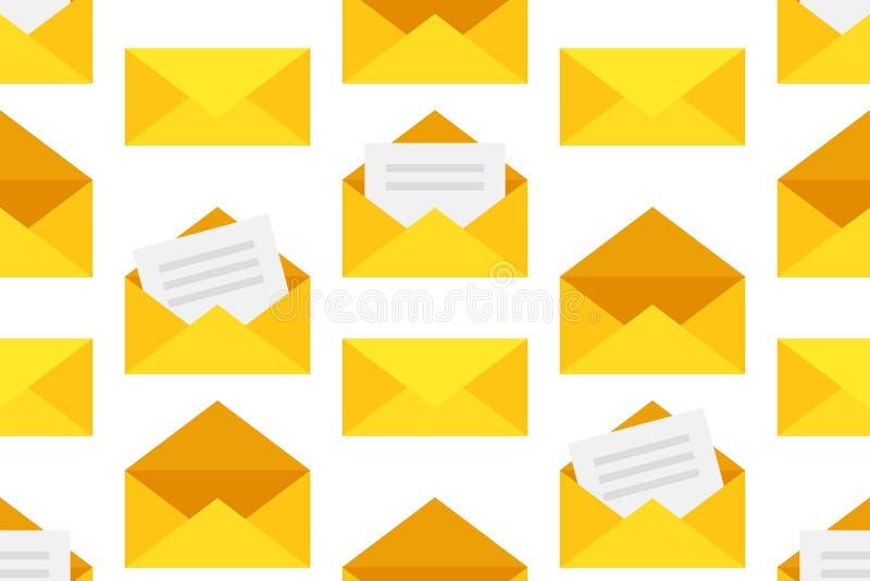 Sömlös modell med gula kuvert royaltyfri illustrationer