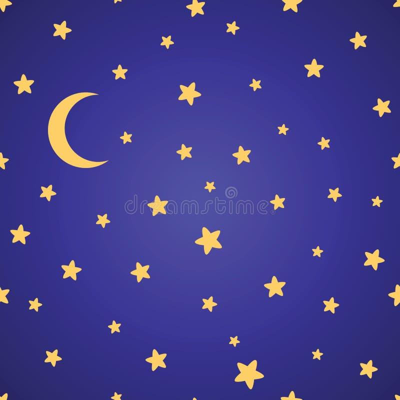 Sömlös modell med gula stjärnor, månen och natthimmel vektor illustrationer