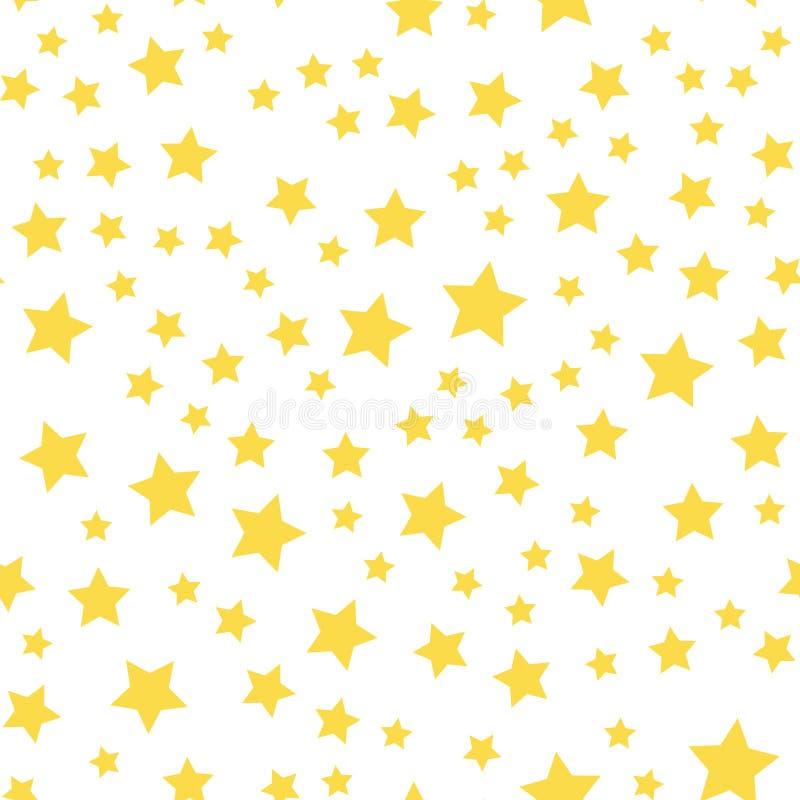 Sömlös modell med gula stjärnor på vit bakgrund vektor royaltyfri illustrationer