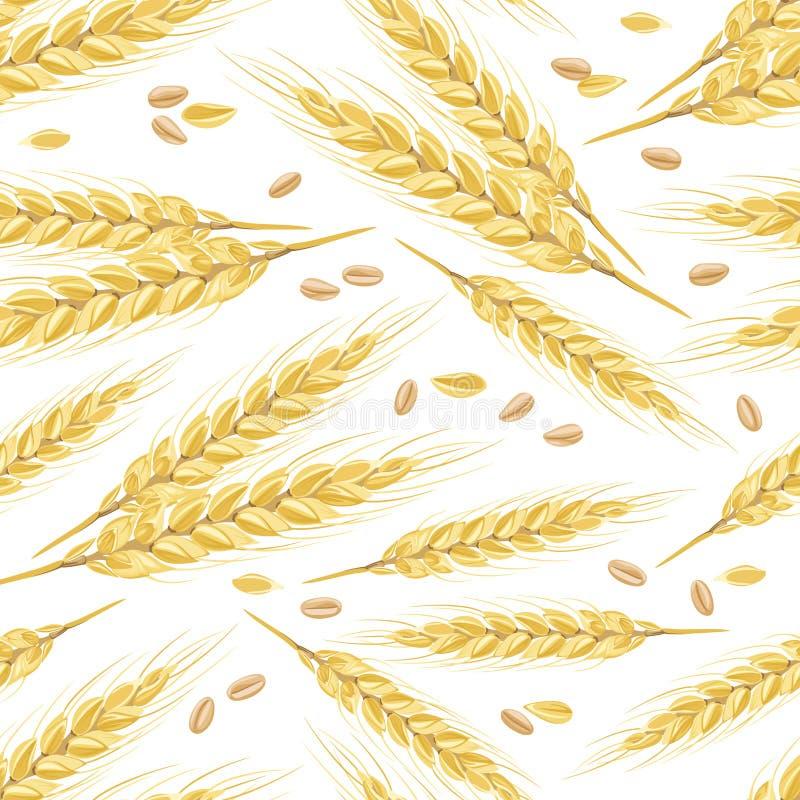 Sömlös modell med guld- öron av vete och korn royaltyfri illustrationer