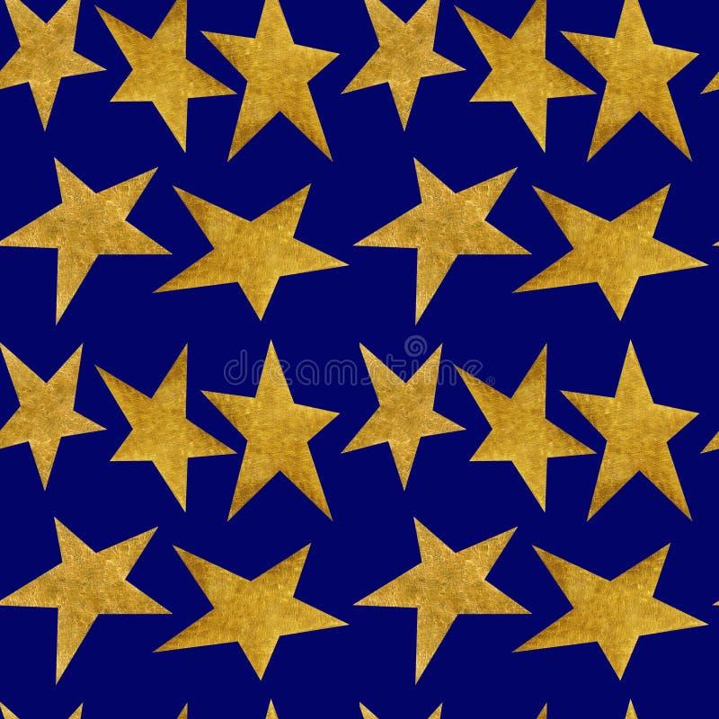 Sömlös modell med guld- metalliska stjärnor på en bakgrund för blå himmel för natt vektor illustrationer