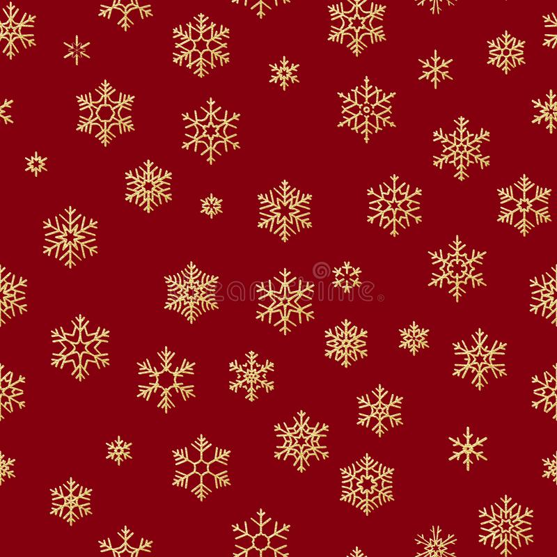 Sömlös modell med guld- snöflingor på röd bakgrund för ferier för jul eller för nytt år 10 eps royaltyfri illustrationer