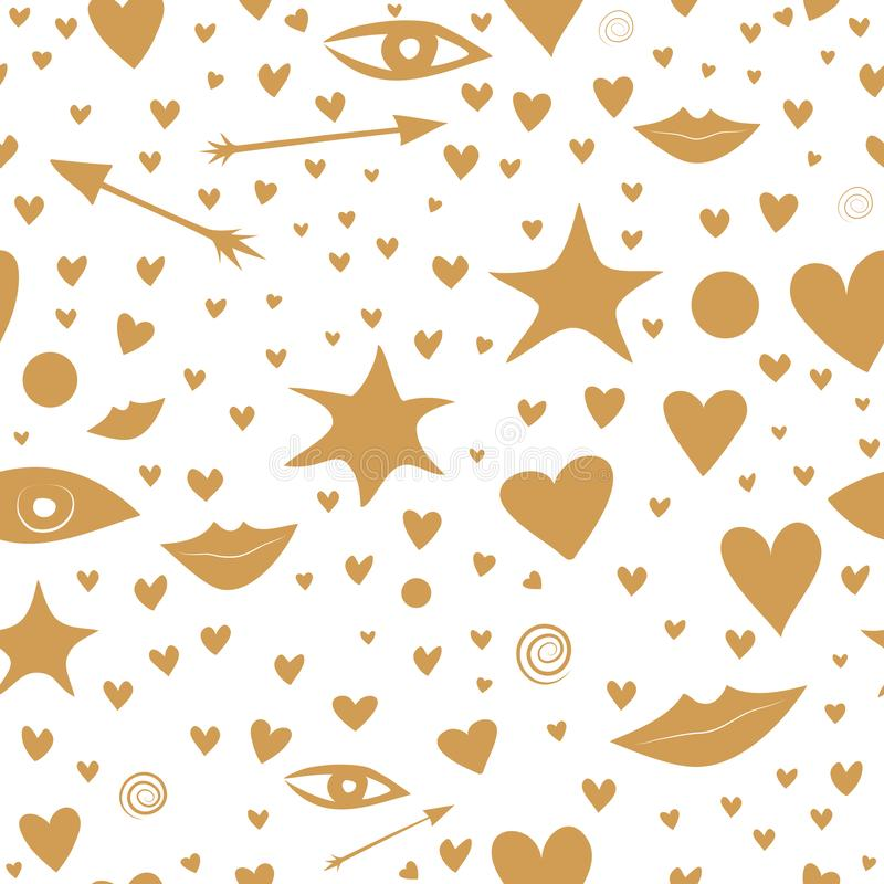 Sömlös modell med guld- stjärnor, hjärtor, kanter, pilar, ögon trevligt och festligt royaltyfri illustrationer