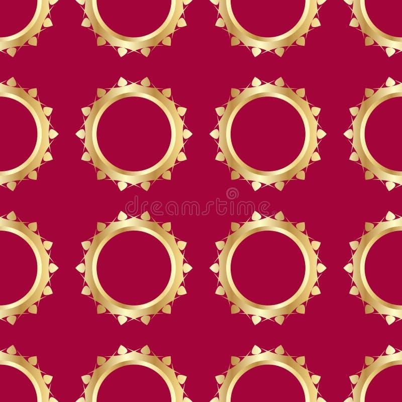 Sömlös modell med guldbröllopcirklar på röd bakgrund Bilden göras i en realistisk stil stock illustrationer