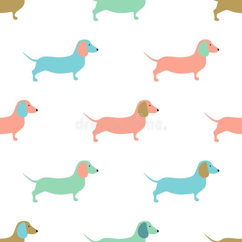 Sömlös modell med gullig dachshoundhundkapplöpning också vektor för coreldrawillustration vektor illustrationer