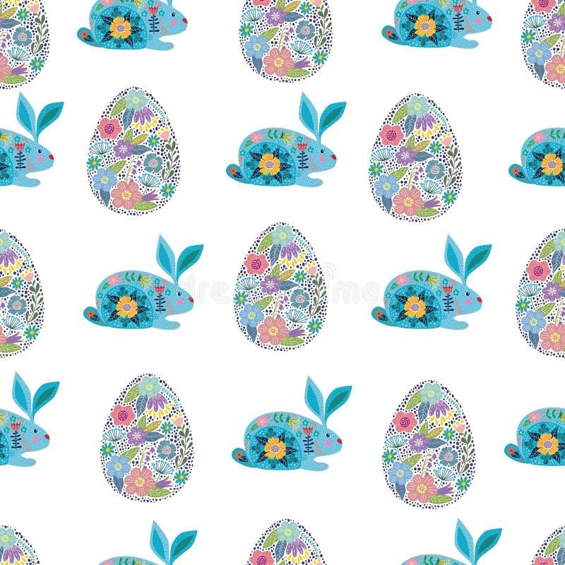 Sömlös modell med gullig kanin för tecknad film och dekorativa easter ägg på en vit bakgrund vektor stock illustrationer