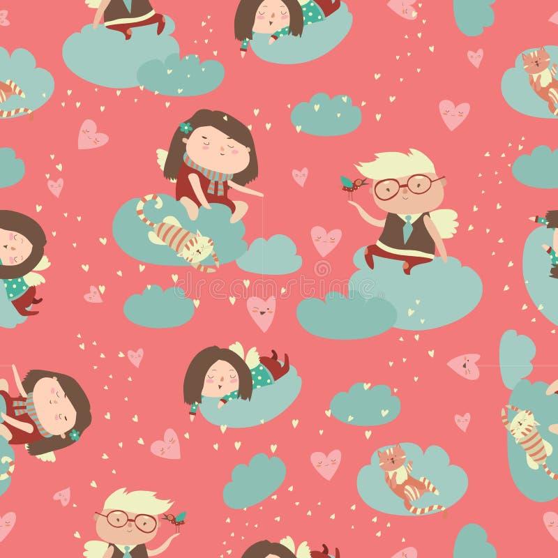 Sömlös modell med gulliga änglar som firar valentindag royaltyfri illustrationer
