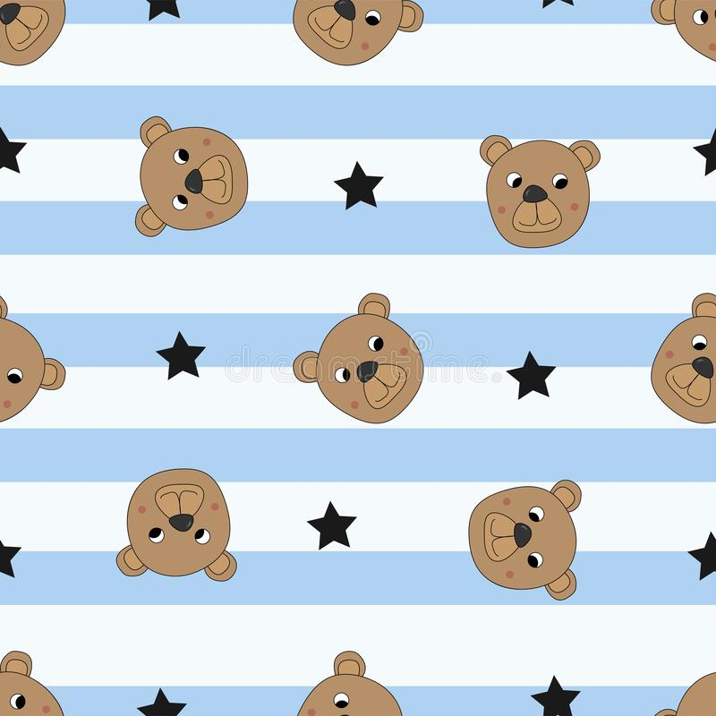 Sömlös modell med gulliga björnar royaltyfri illustrationer