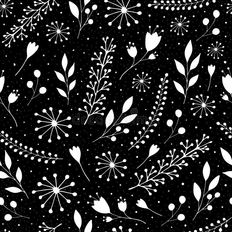Sömlös modell med gulliga blommor och kvistar på en svart bakgrund royaltyfri illustrationer