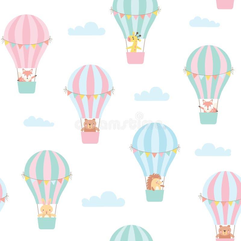 Sömlös modell med gulliga djur i en ballong för varm luft vektor royaltyfri illustrationer