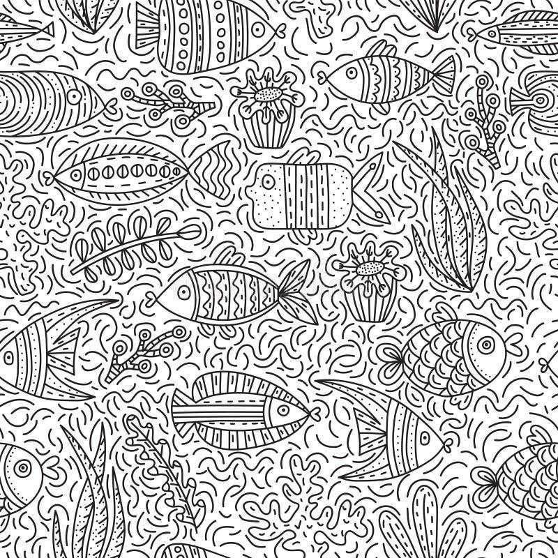 Sömlös modell med gulliga fiskar och havsväxter vektor illustrationer