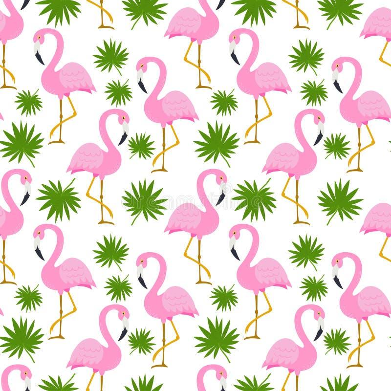 Sömlös modell med gulliga flamingo stock illustrationer