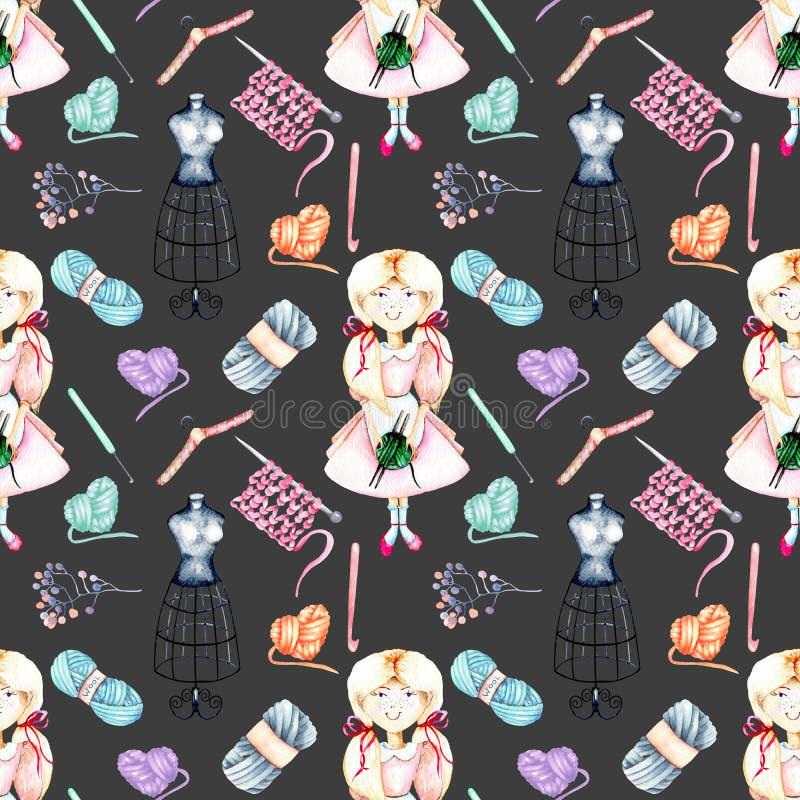 Sömlös modell med gulliga Flicka-needlewoman och handarbetebeståndsdelar för vattenfärg: garn, stickor och virkningkrokar royaltyfri illustrationer