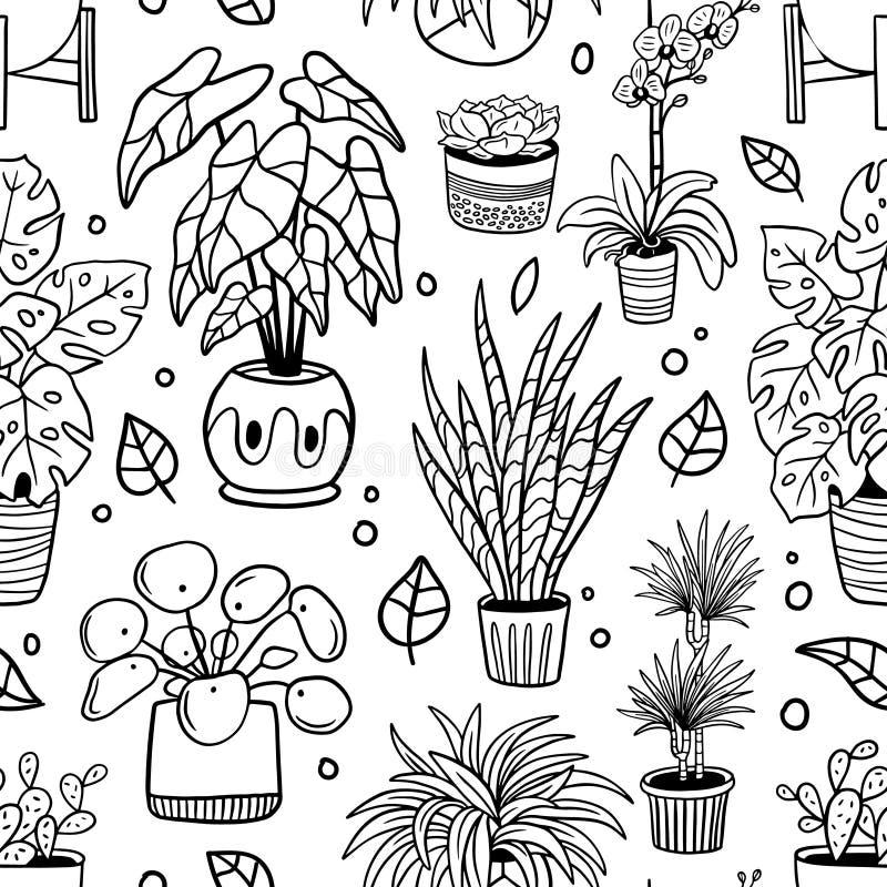 Sömlös modell med gulliga houseplants i krukor royaltyfri illustrationer