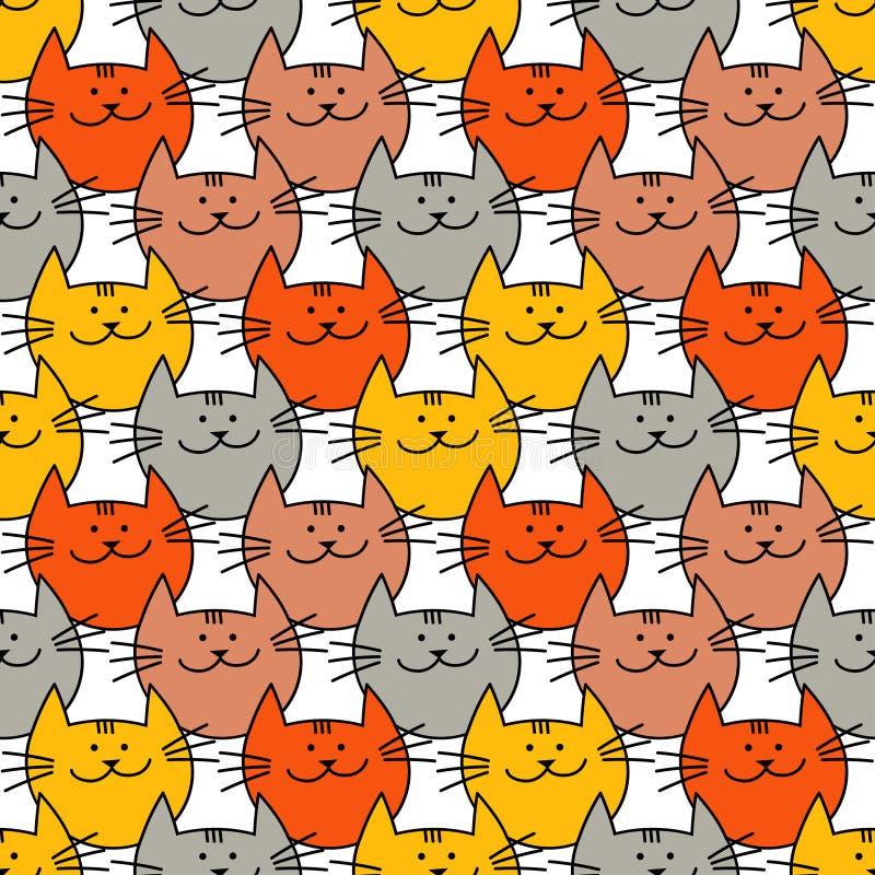 Sömlös modell med gulliga katter för hipster Roliga älskvärda katter Torkdukedesign, tapet stock illustrationer
