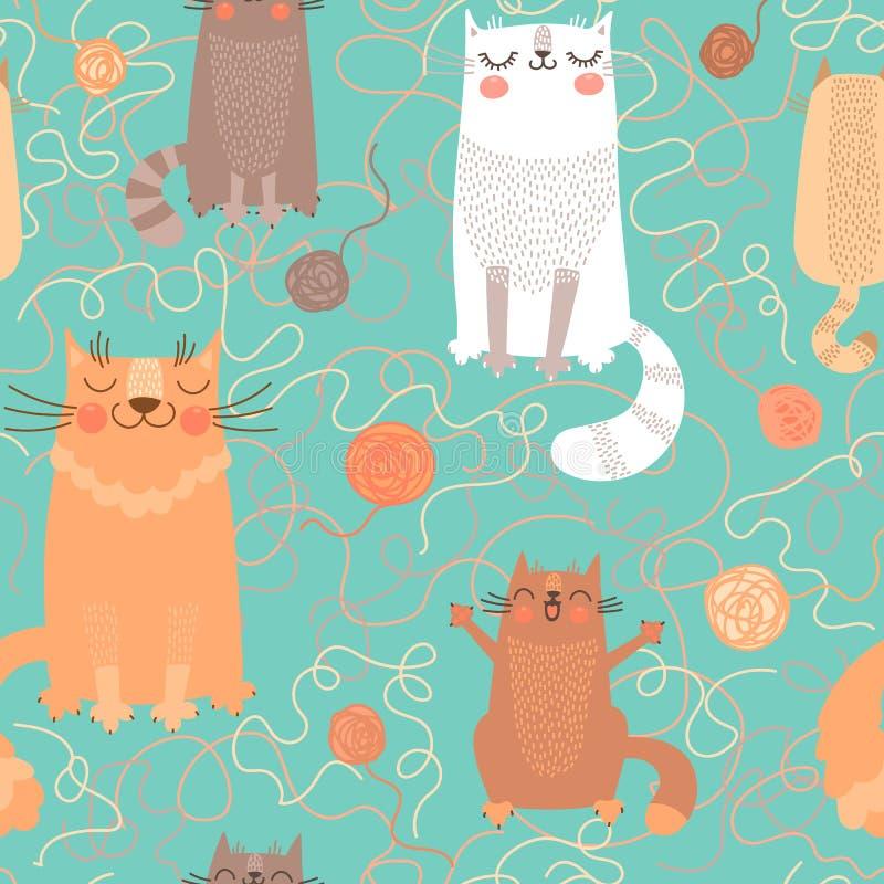 Sömlös modell med gulliga katter och garnnystan vektor illustrationer