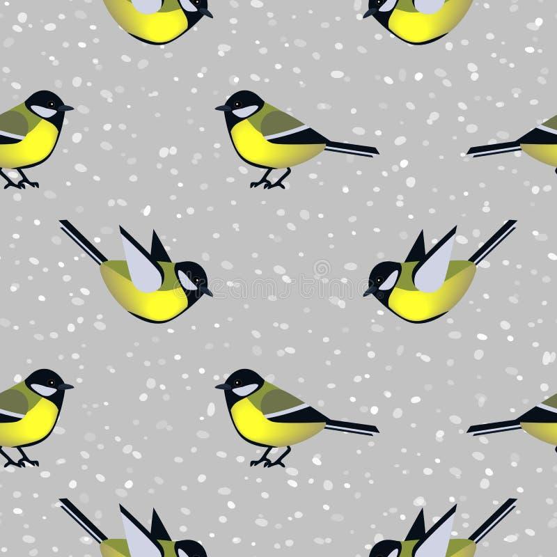 Sömlös modell med gulliga mesfåglar i vinter vektor illustrationer
