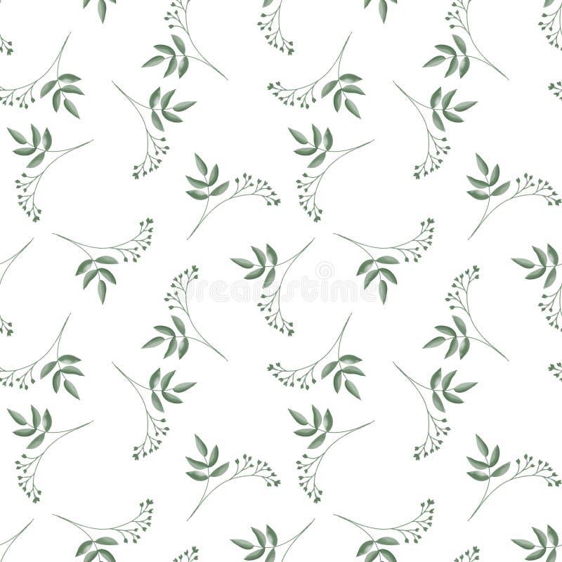 Sömlös modell med gulliga mycket små blommafilialer med sidor på vit bakgrund royaltyfri illustrationer