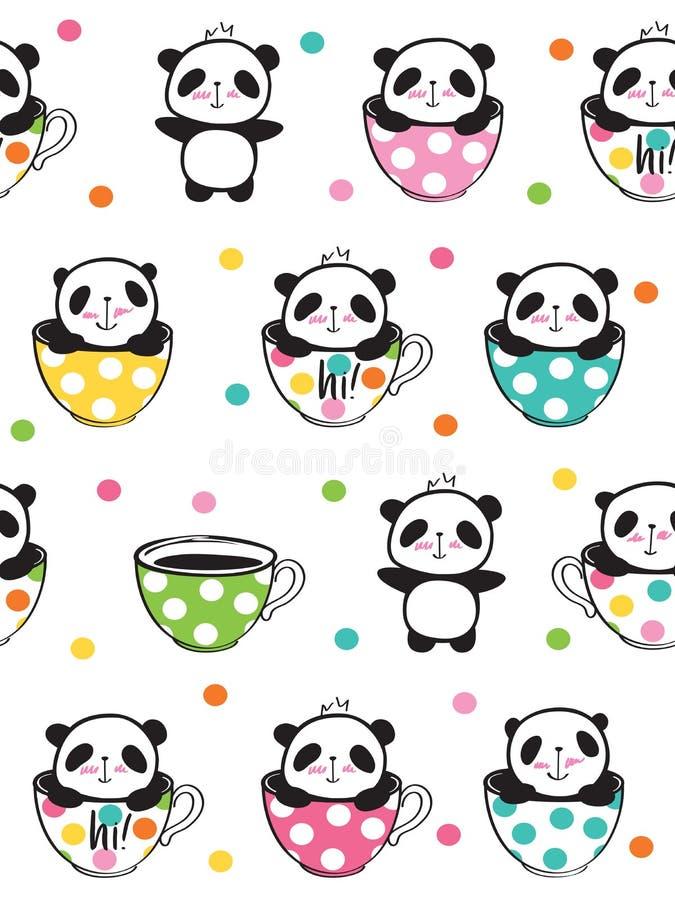 Sömlös modell med gulliga pandor i koppar för ungar stock illustrationer