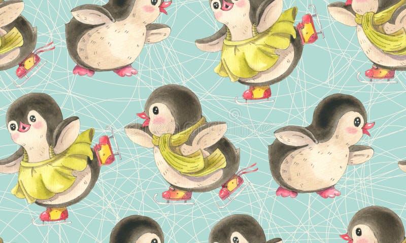 Sömlös modell med gulliga pingvin royaltyfri illustrationer