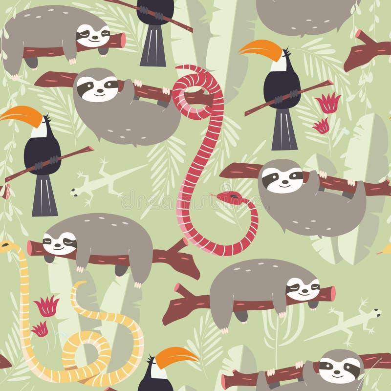 Sömlös modell med gulliga regnskogdjur, tukan, orm, sengångare stock illustrationer