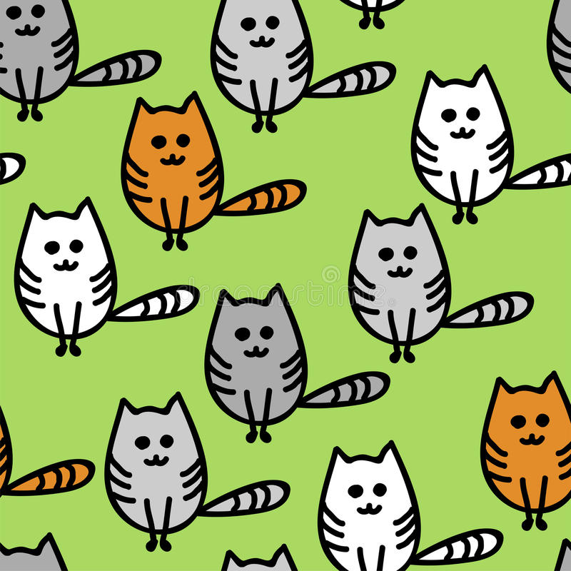 Sömlös modell med gulliga roliga kattungar vektor illustrationer