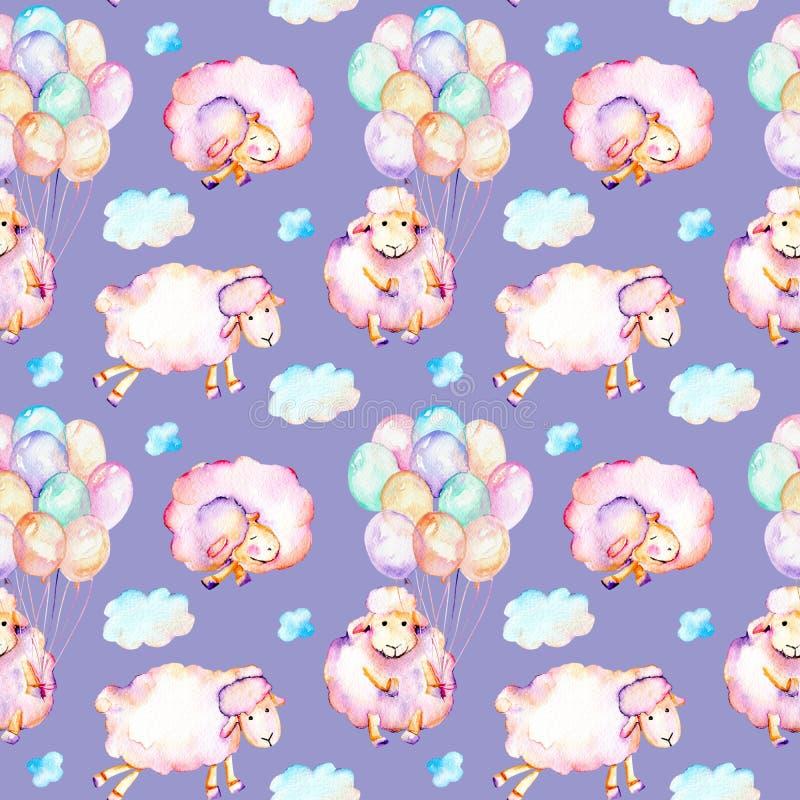Sömlös modell med gulliga rosa sheeps för vattenfärg, luftballonger och molnillustrationer royaltyfri illustrationer