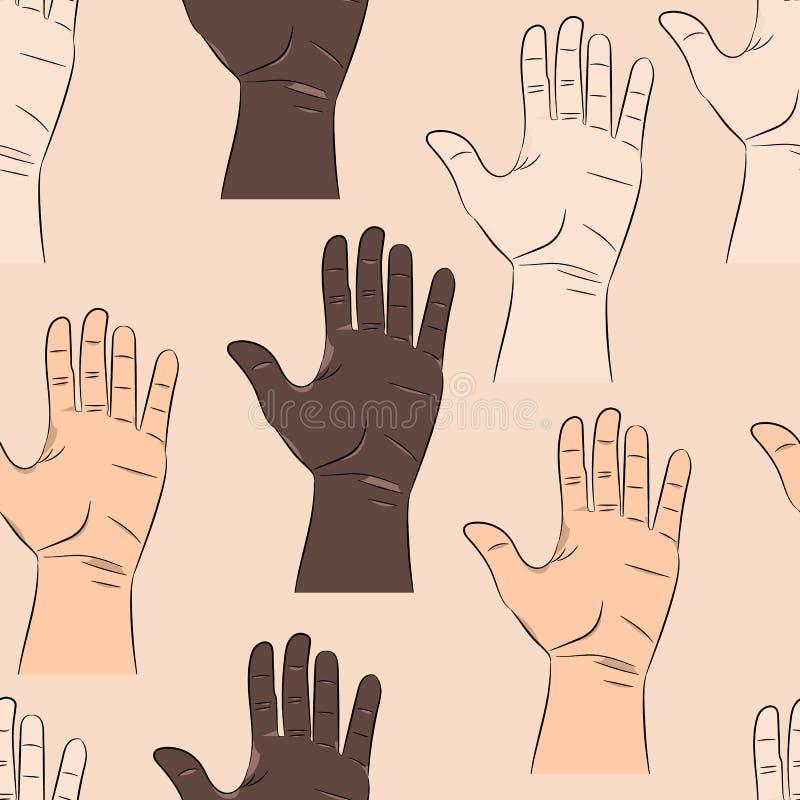 Sömlös modell med händer för man` s royaltyfri illustrationer
