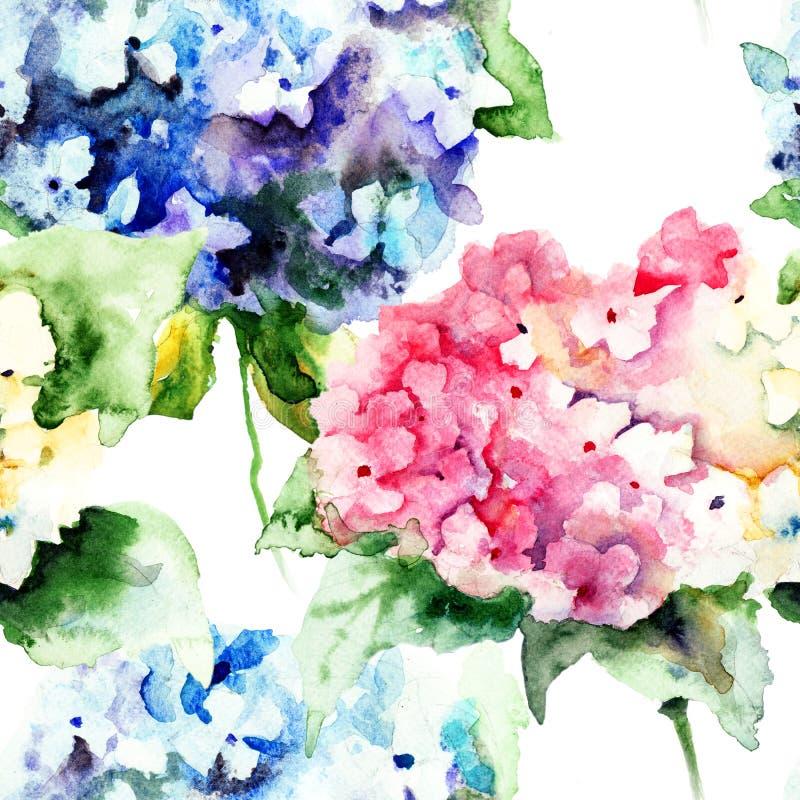 Sömlös modell med härliga vanlig hortensiablåttblommor royaltyfri illustrationer