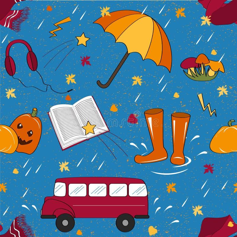 Sömlös modell med höstattribut Regnigt höstväder stock illustrationer