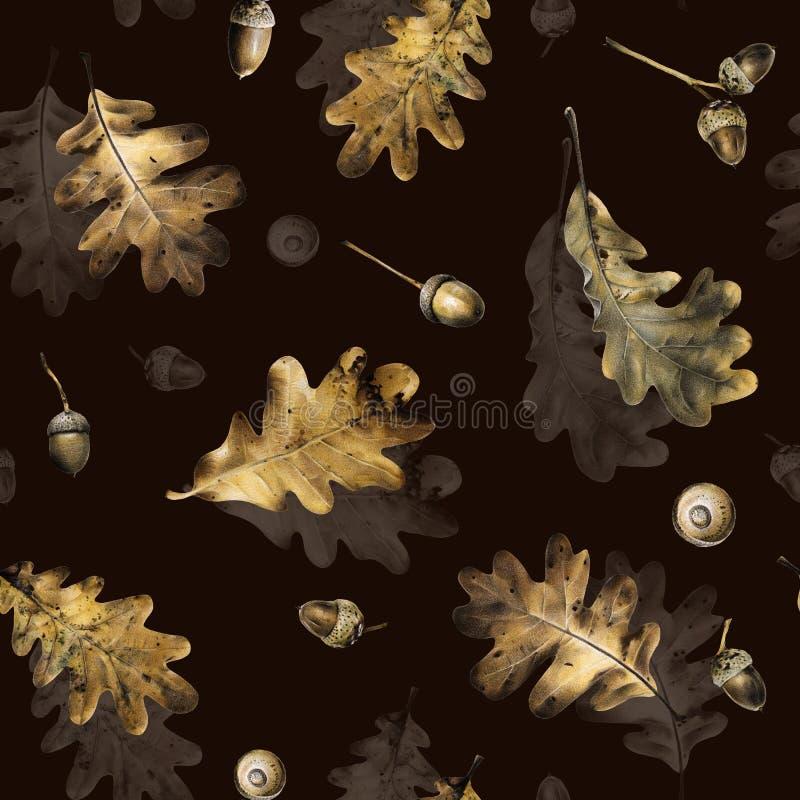 Sömlös modell med höstsidor av eken och ekollonar Hand dragen illustration med kulöra blyertspennor arkivfoto