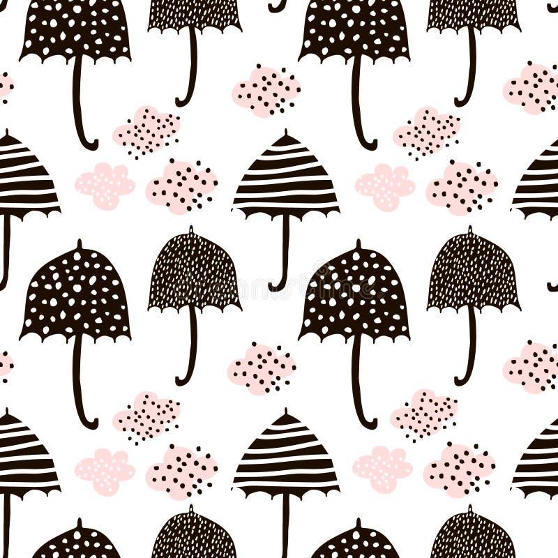 Sömlös modell med hand drog färgrika paraplyer Barnslig textur Utmärkt för tyg, textilvektorillustration royaltyfri illustrationer