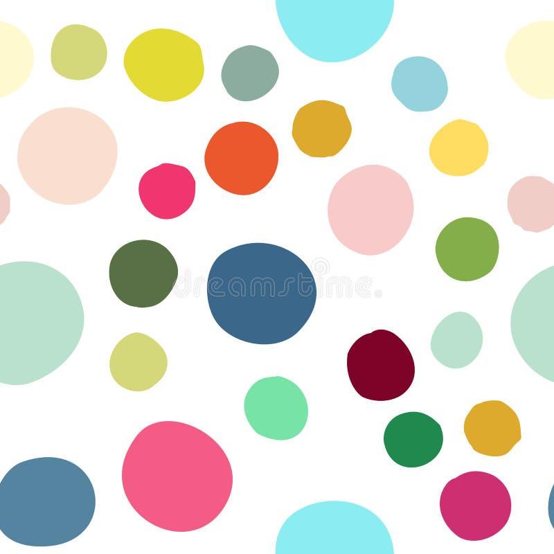 Sömlös modell med hand drog färgrika spridda konfettifläckar vektor illustrationer