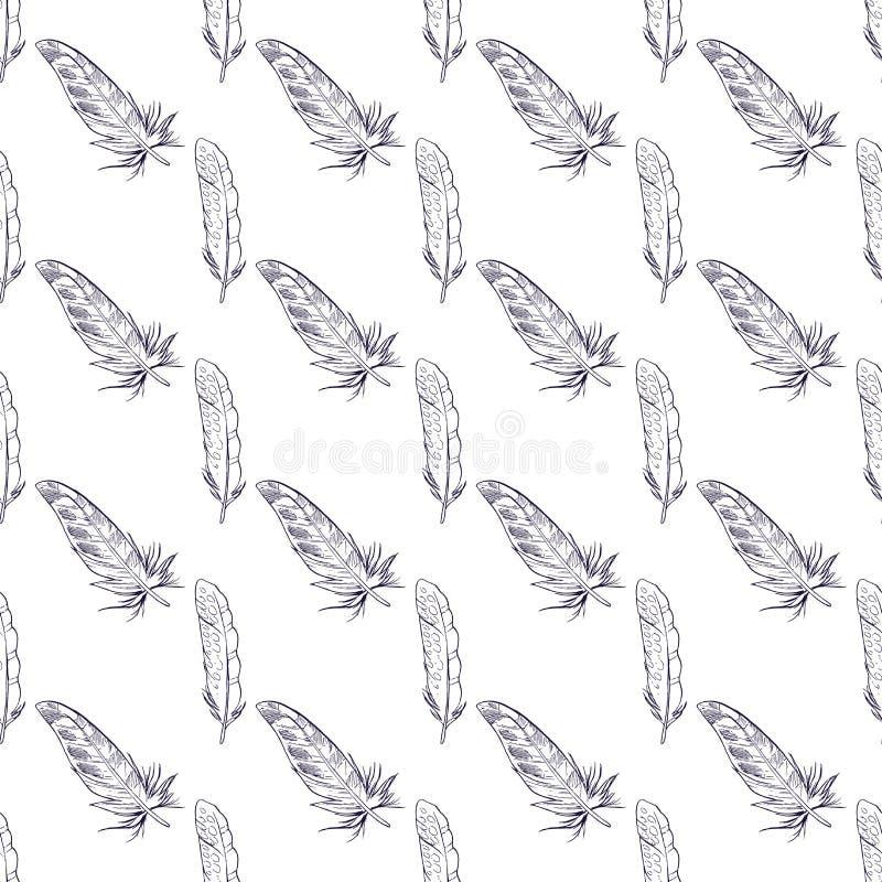 Sömlös modell med hand drog fjädrar Gullig modell för tyg, bakgrund, textil, inpackningspapper och annan garnering vektor illustrationer